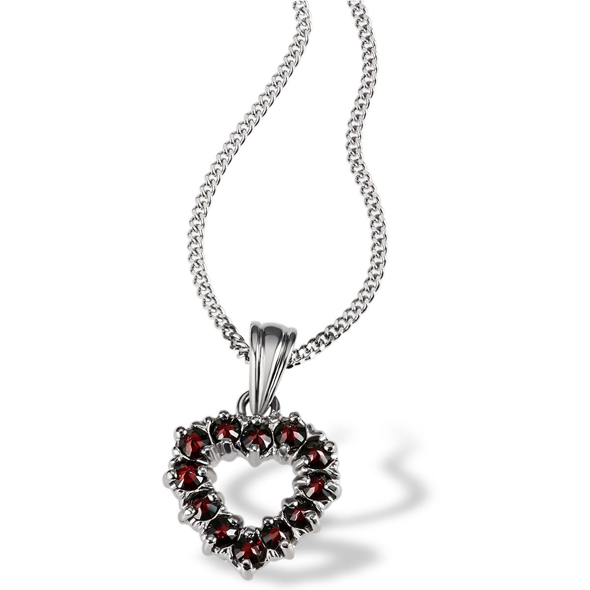 Averdin Collier Silber 925/- mit 12 rot-braunen Granaten