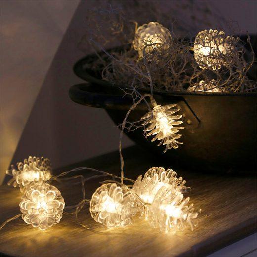 Grafelstein Lichterkette »Lichterkette ZAPFEN transparente Tannenzapfen Weihnachten LED batteriebetrieben«