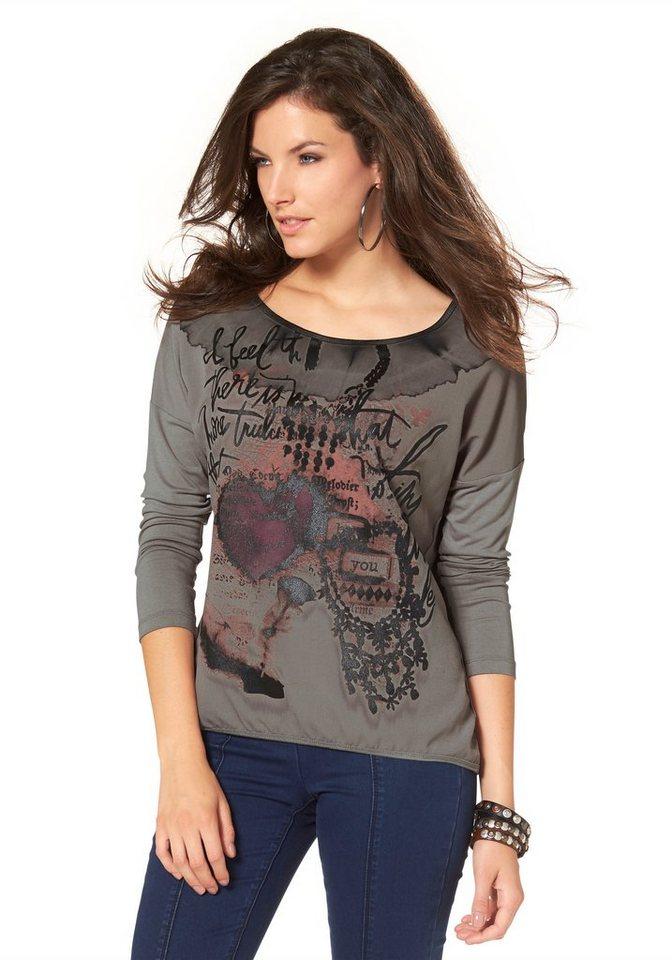 Aniston Langarmshirt im Vokuhila-Style in taupe-schwarz-lila-orange