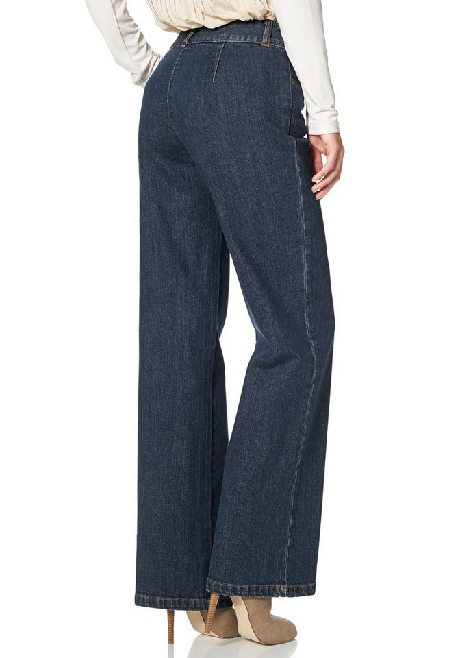 Vivance Bootcut-Jeans im Palazzo-Style in blue-stone