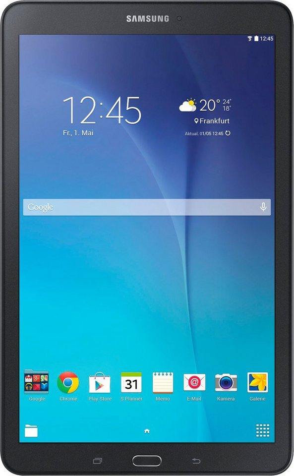 Samsung Galaxy Tab E Tablet-PC, Android 4.4 (KitKat), Quad-Core, 24,3 cm (9,6 Zoll), 1536 MB in schwarz