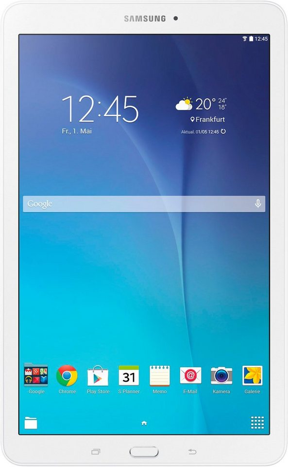 Samsung Galaxy Tab E Tablet-PC, Android 4.4 (KitKat), Quad-Core, 24,3 cm (9,6 Zoll), 1536 MB in weiß