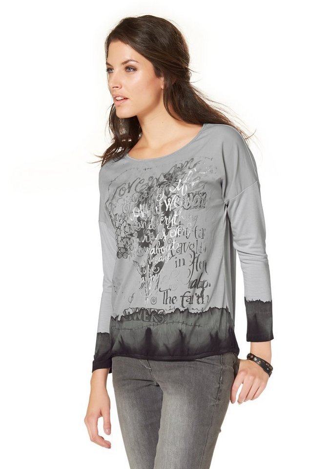 Aniston Langarmshirt in grau-schwarz-silberfarben