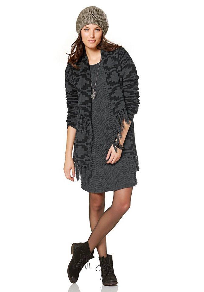 Aniston Cardigan mit langen Fransen in schwarz-grau