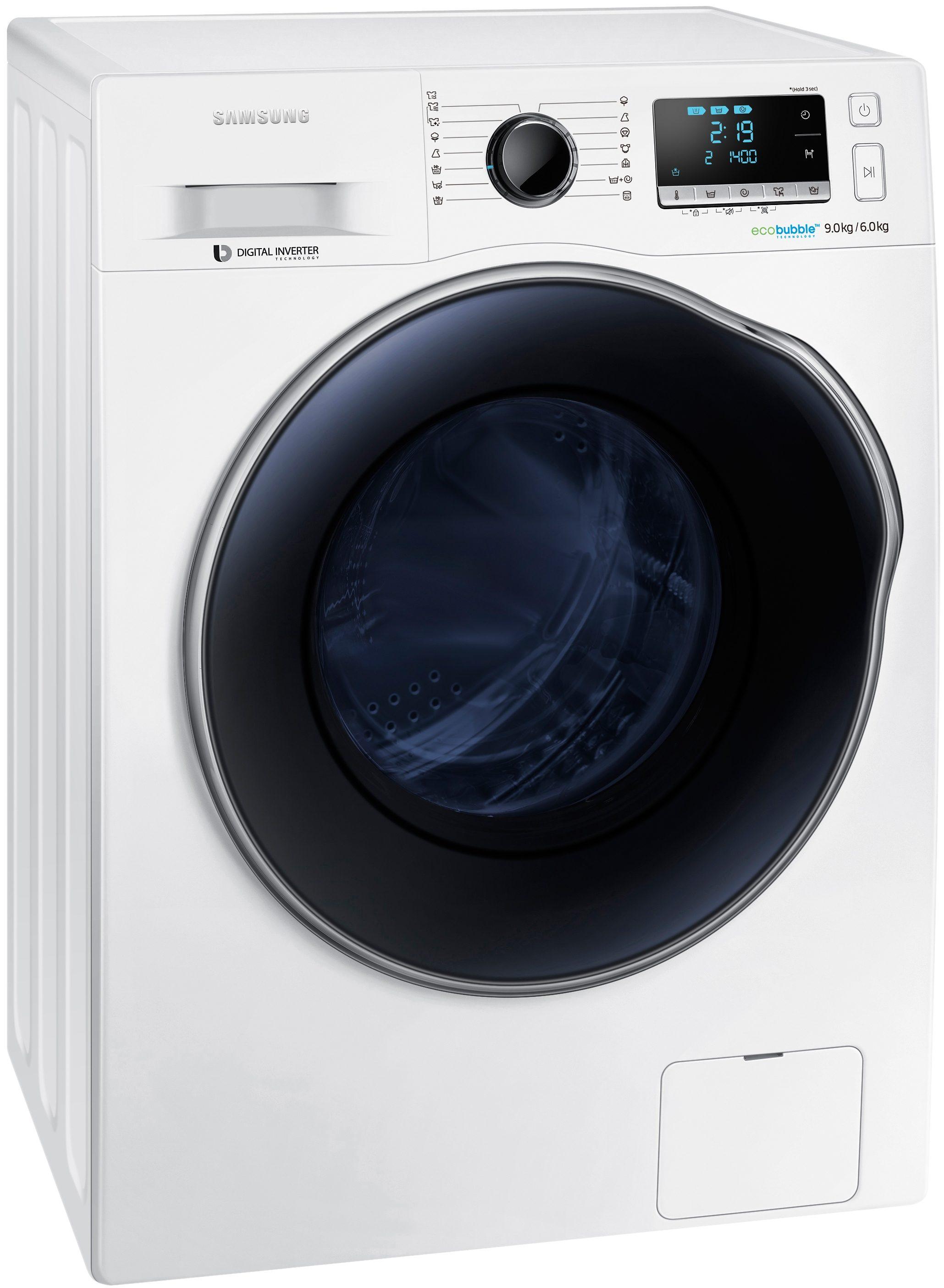 Samsung Waschtrockner WD90J6400AW/EG, A, 9 kg / 6 kg, 1400 U/Min
