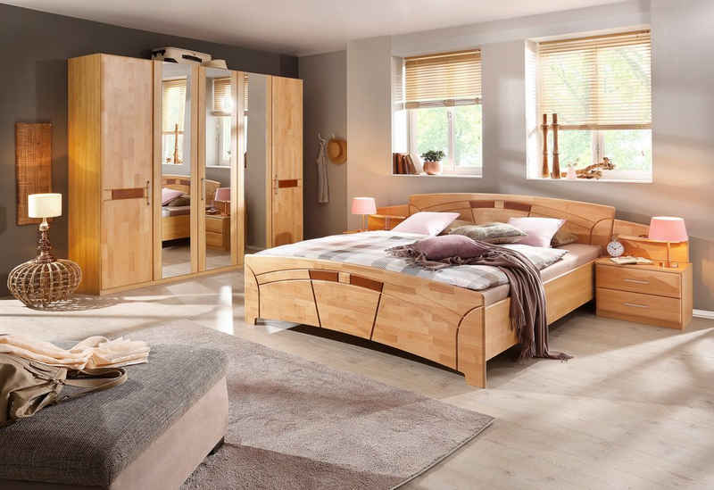 rauch BLACK Schlafzimmer-Set »Sarah«, (Set, 4-St), mit Bett 180/200 und 5-oder 6-trg. Schrank