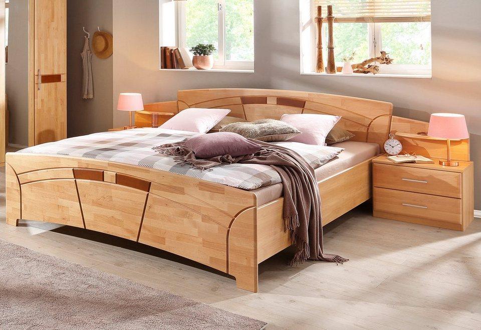 Set: Bett + Nachttische (3-tlg.), »Sarah« in honigfarben