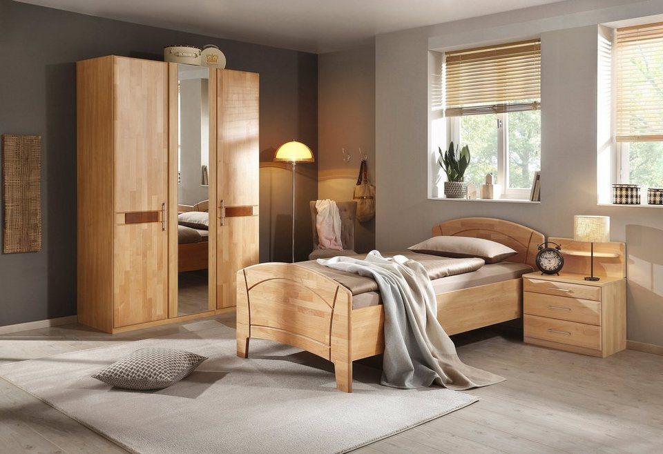 Schlafzimmer-Set (4-tlg.), »Sarah«, mit Bett 100/200 cm und 2-oder 3-trg Schrank in honigfarben