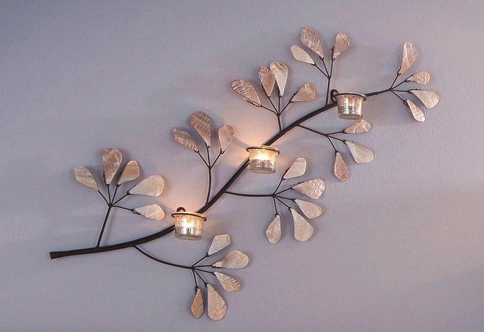 Verspielter Teelichthalter mit Blätter in Perlmuttoptik