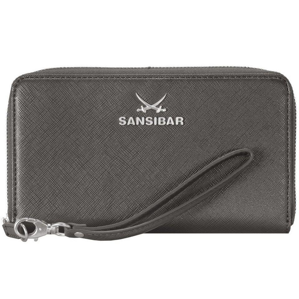 Sansibar Chic Geldbörse Clutch Tasche Leder 19,5 cm Handyfach in grey