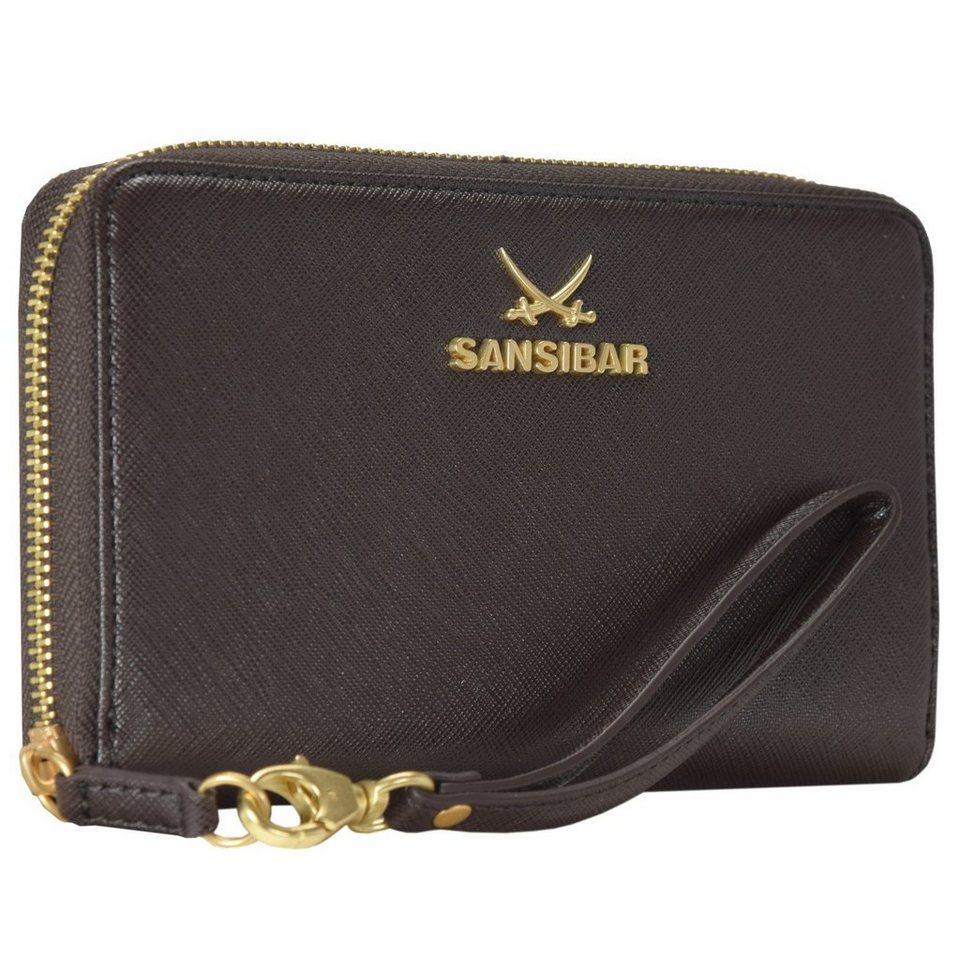 Sansibar Chic Geldbörse Clutch Tasche Leder 19,5 cm Handyfach in chocolate