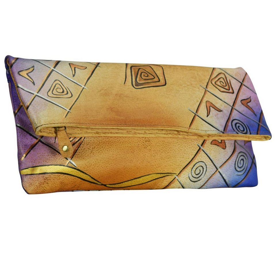 Greenland Art + Craft Clutch Tasche Leder 30 cm in bunt