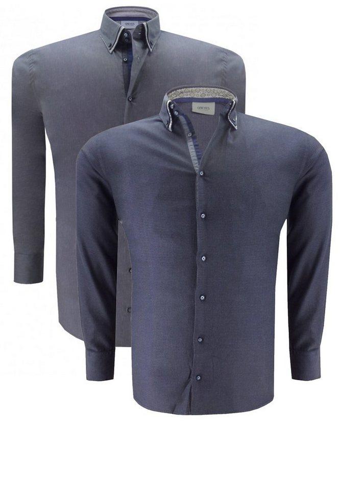 greyes Businesshemd Doppelpack in Dukelgrau Melange
