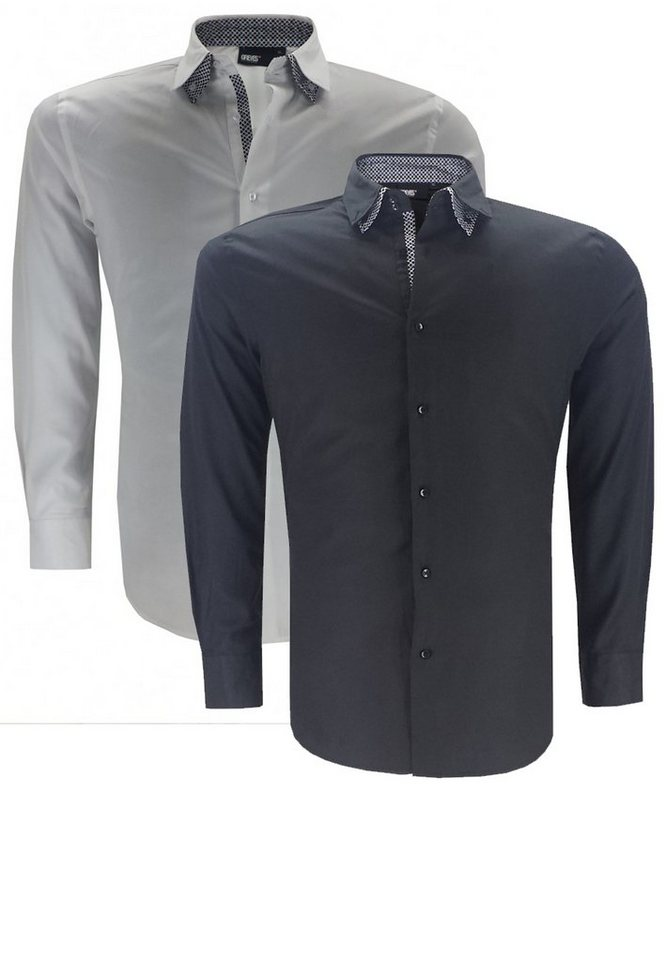 greyes Businesshemd Doppelpack in Schwarz