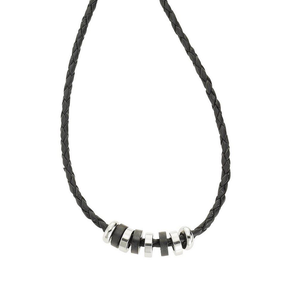 Zeeme Collier »Leder mit Edelstahlringen 45cm lang« in schwarz