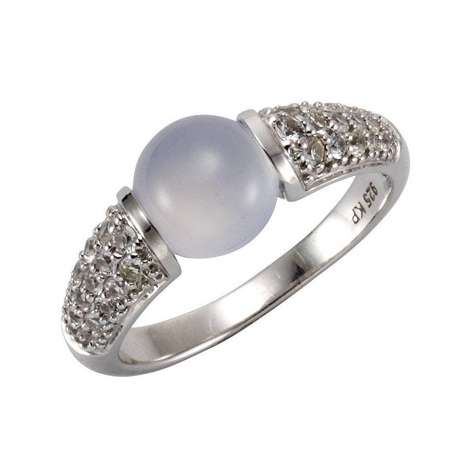 Zeeme Ring »925/- Sterling Silber Calcedon hellblau« in weiß
