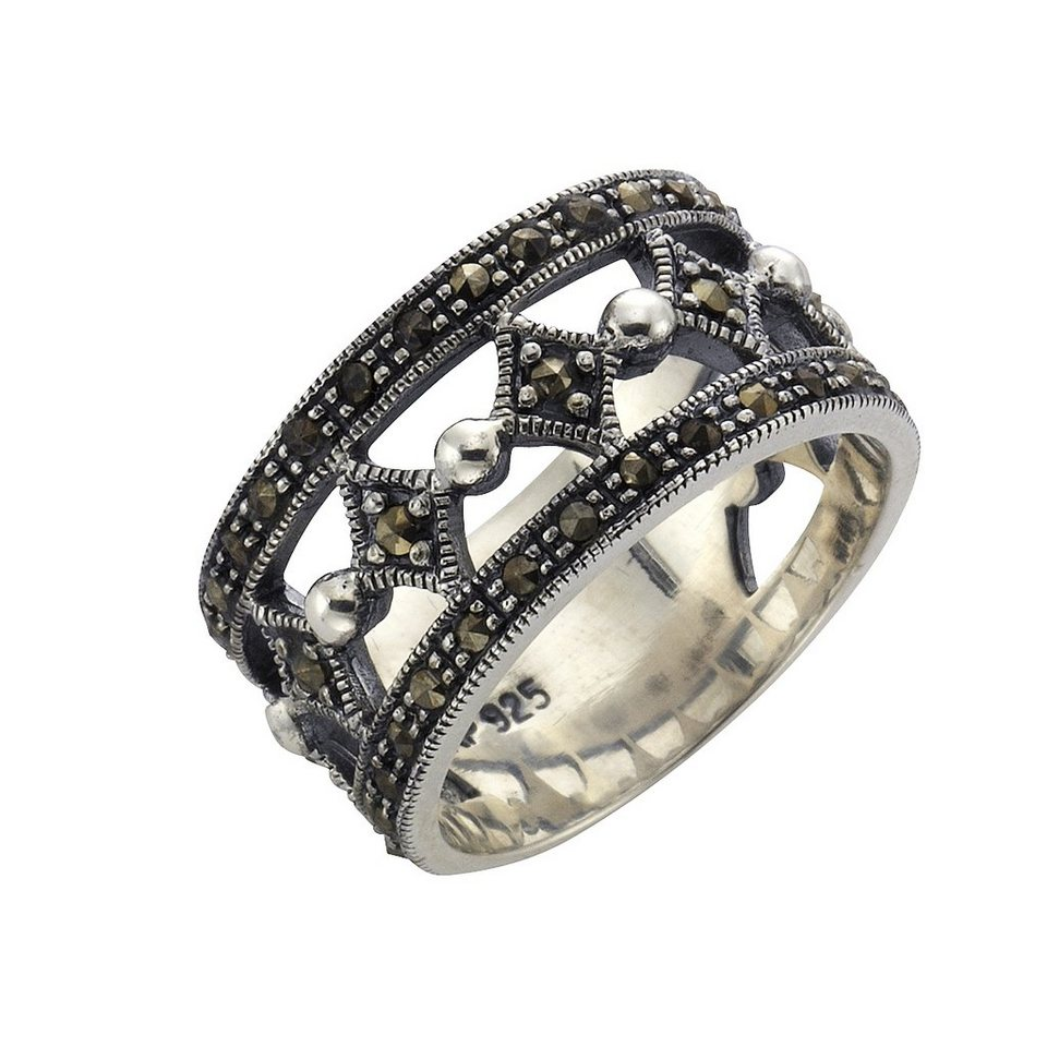 Zeeme Ring »925/- Sterling Silber Markasit« in schwarz