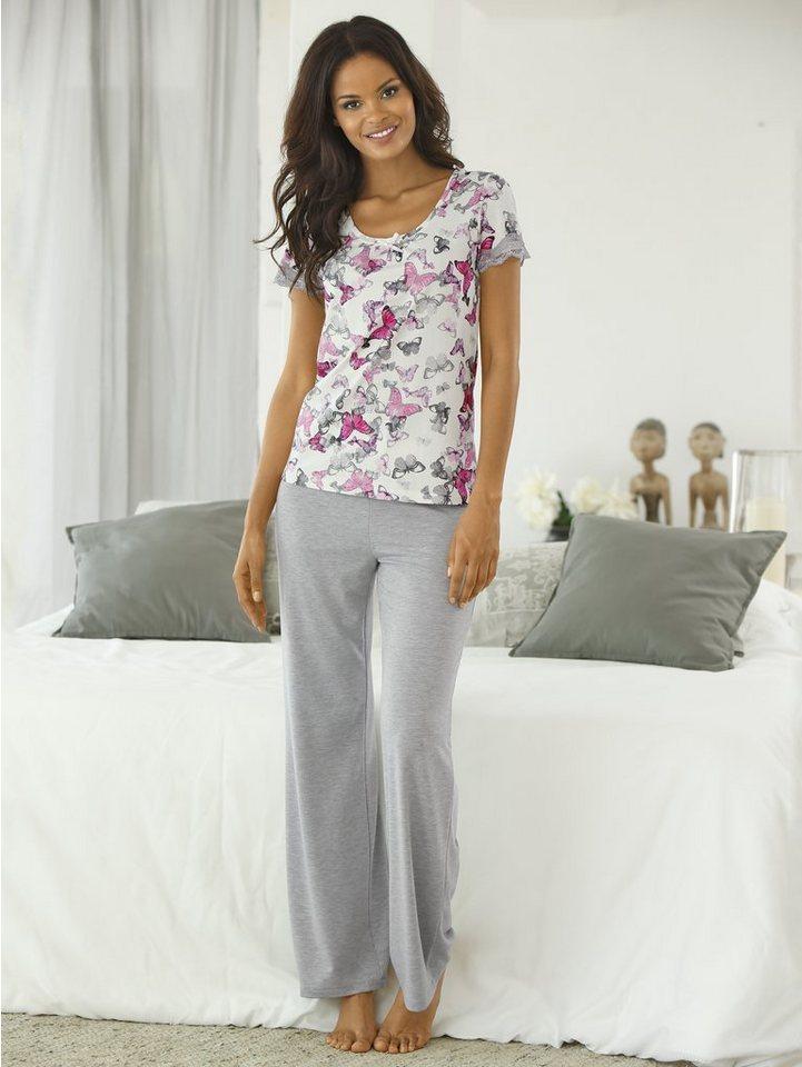 Pyjama-Oberteil in grau/rosé