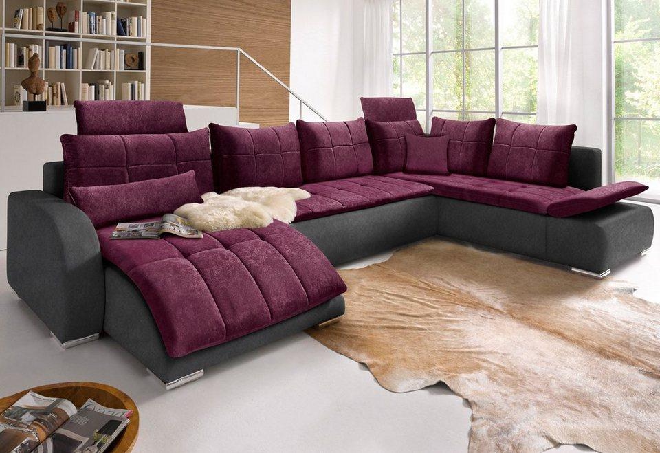 wohnlandschaft mit bettfunktion online kaufen otto. Black Bedroom Furniture Sets. Home Design Ideas