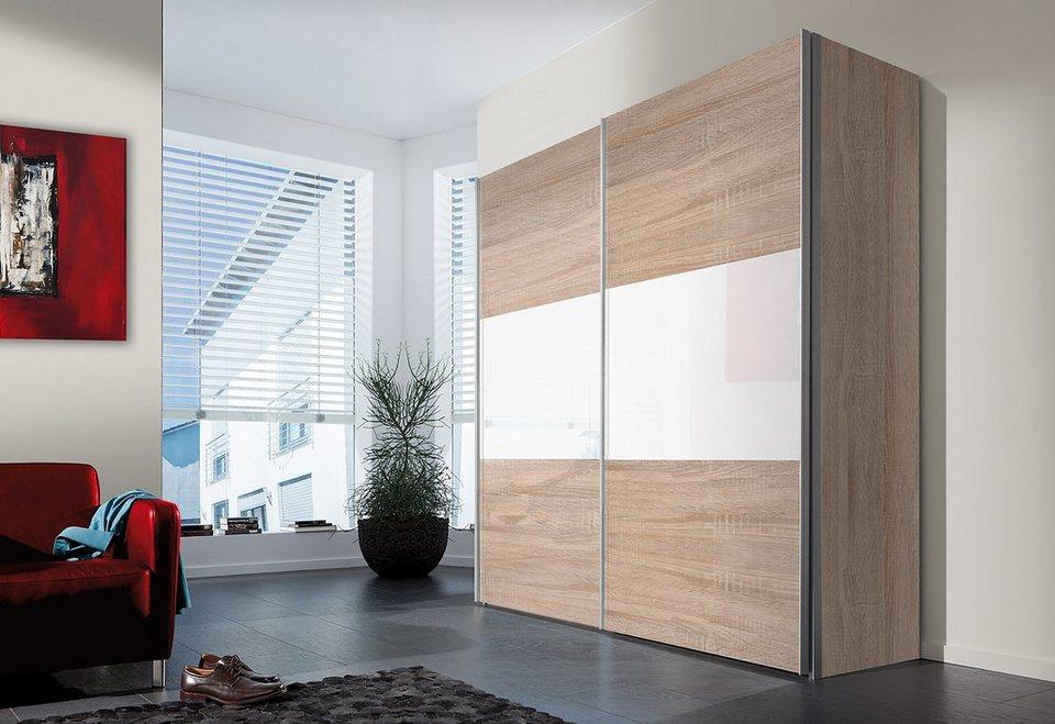 Express Solutions Schwebetürenschrank in struktureichefarben hell/Weißglas