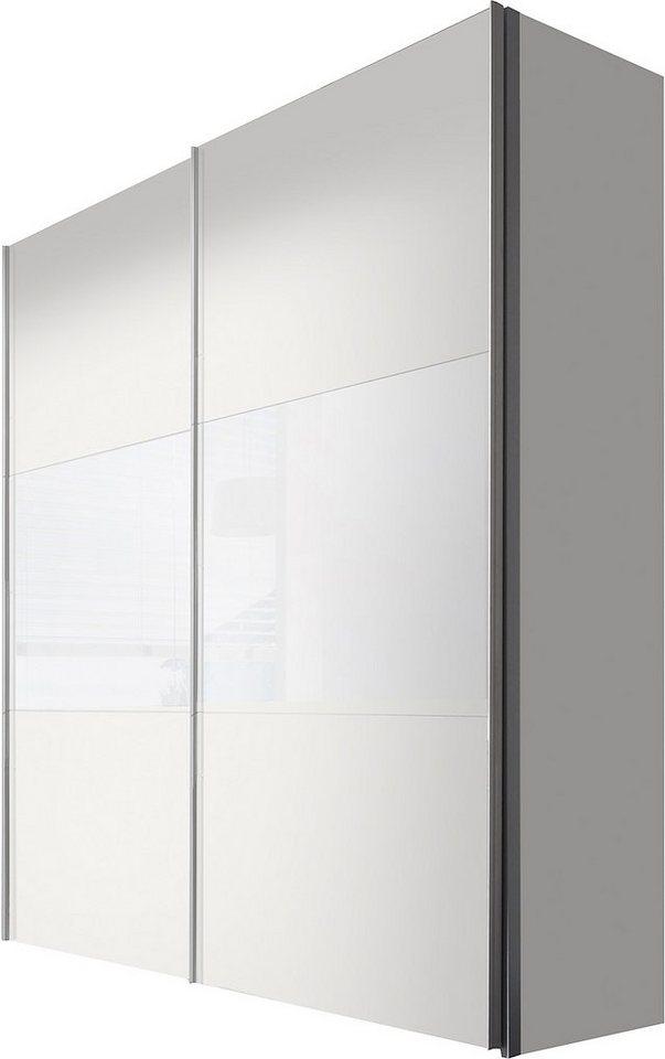 Express Solutions Schwebetürenschrank in weiß/Weißglas