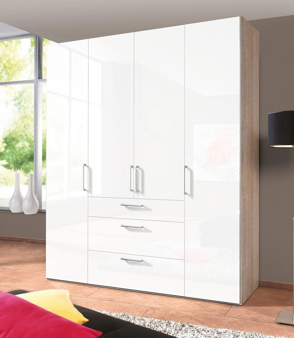 Express Solutions Kleiderschrank | Schlafzimmer > Kleiderschränke > Drehtürenschränke | Hochglanz - Matt - Weiß | Hochglanz - Metall | Express Solutions