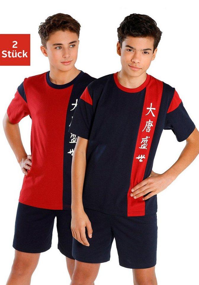 Pyjamas, kurz (2 Stück), coole Shortys mit Colorblocking in 2x bordeaux-marine
