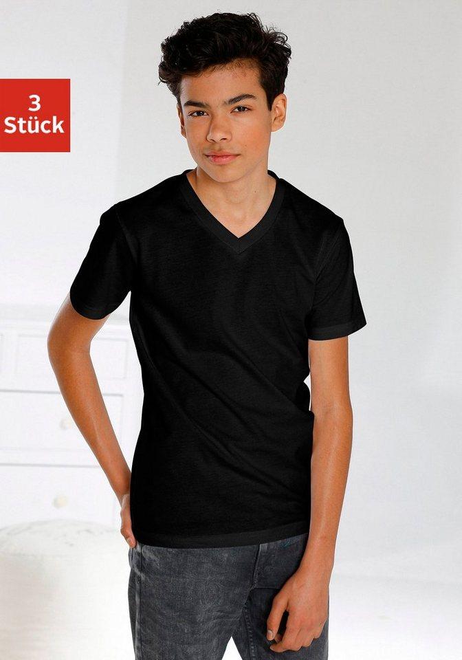 T-Shirts V-Ausschnitt (3 Stück), ideal zum Drunterziehen, passt für jeden Tag in 3x schwarz