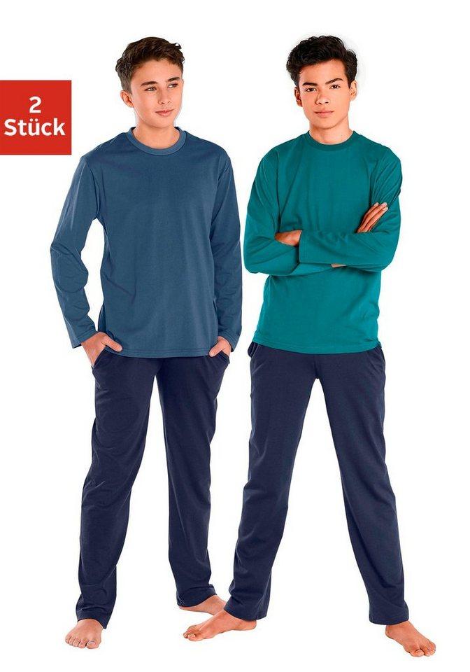 Pyjamas, lang (2 Stück), cooler Pyjama in Basicfarben in petrol + marine