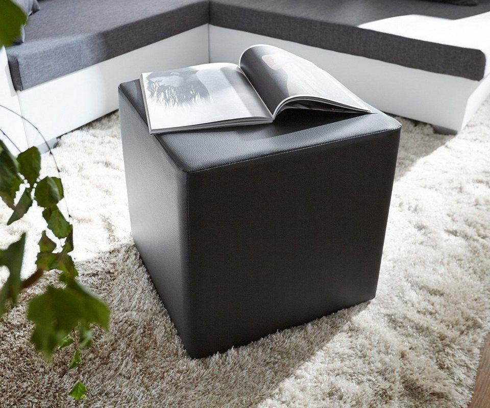 DELIFE Sitzhocker Dado Schwarz 45x45 cm Sitzwürfel in Schwarz