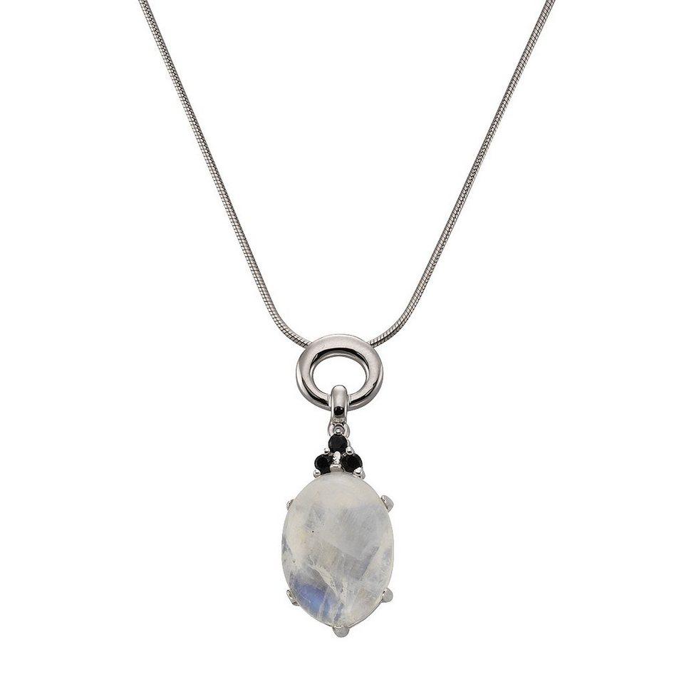 Zeeme Anhänger mit Kette »925/- Sterling Silber Mondstein Spinell« in weiß