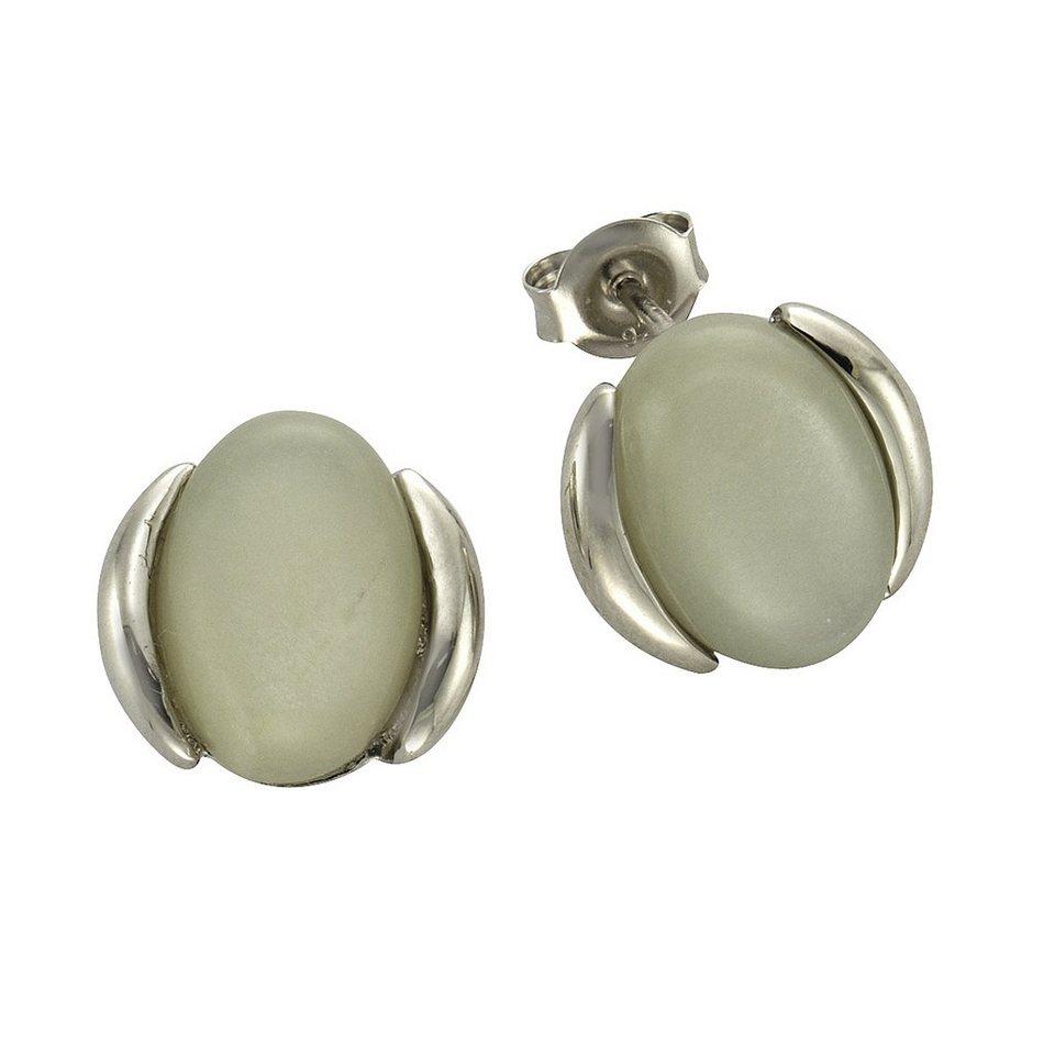 Zeeme Ohrstecker »925/- Sterling Silber Mondstein« in weiß