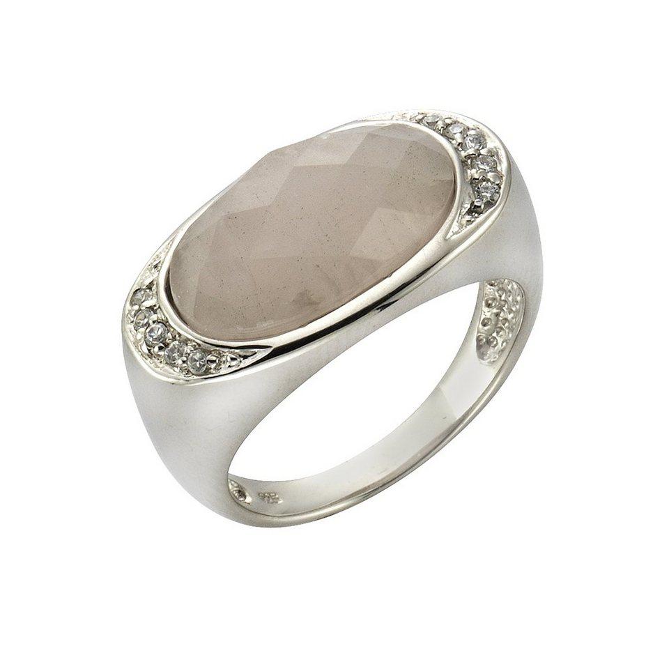 Zeeme Ring »925/- Sterling Silber Rosenquarz« in weiß