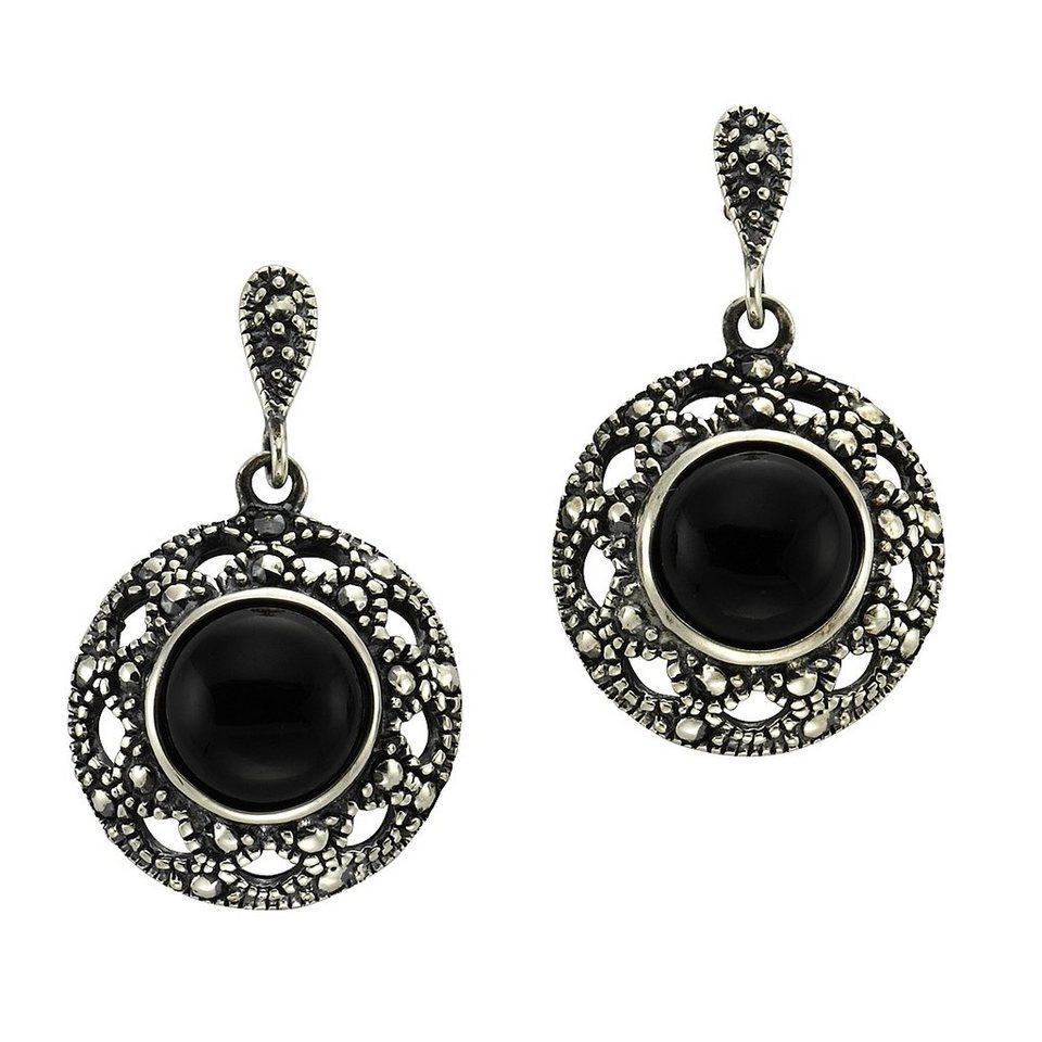 Zeeme Ohrhänger »925/- Sterling Silber Achat schwarz« in schwarz