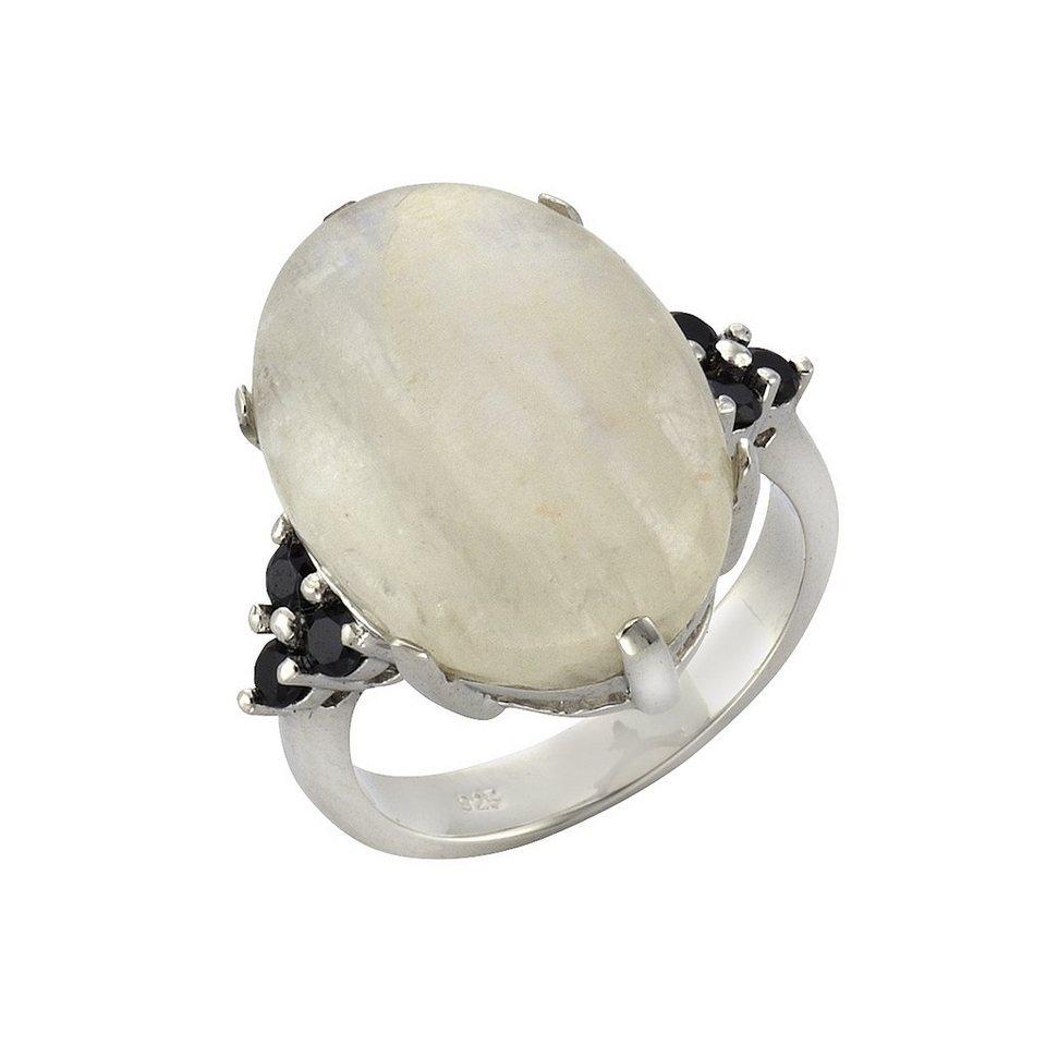 Zeeme Ring »925/- Sterling Silber Mondstein und Spinell« in weiß
