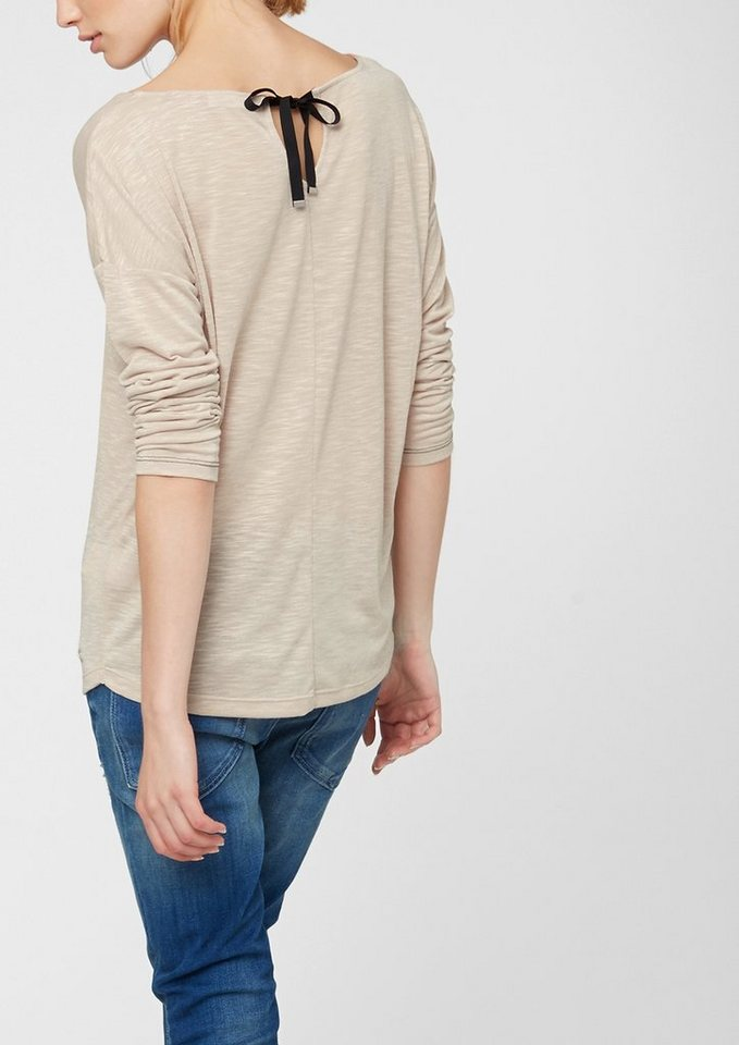 s.Oliver RED LABEL Longsleeve mit Tropfen-Cut in light beige melange