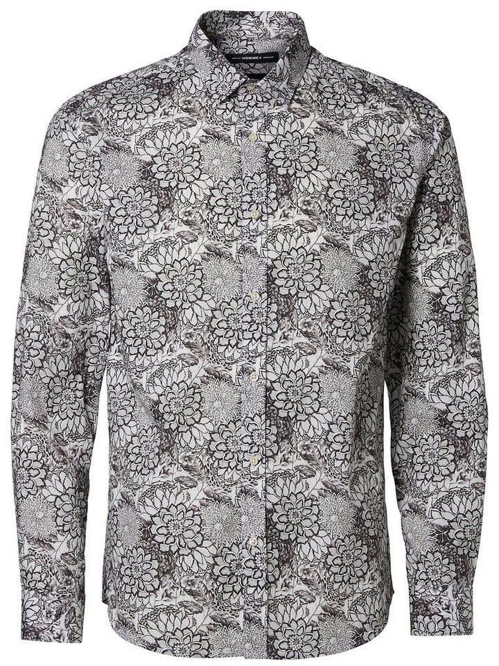 Selected Blumendruck- Langarmhemd in White