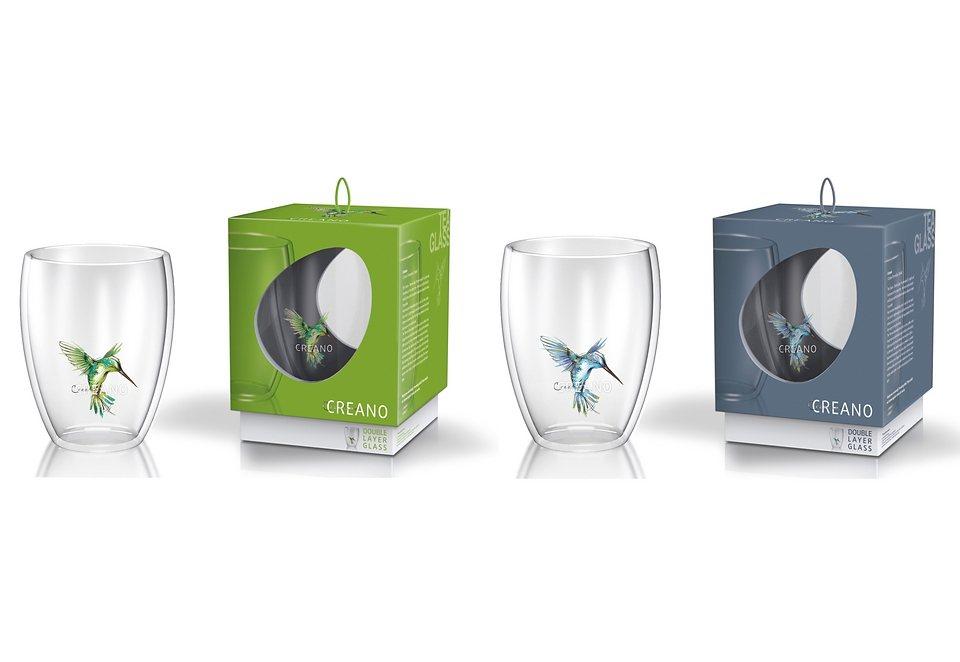 Creano Thermo-Glas Hummi (2er Set) in transparent/blau/grün