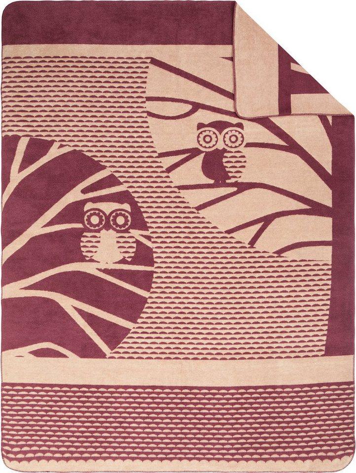 Wohndecke, Ibena, »Owl«, mit Eulenmotiv in bordeaux-natur