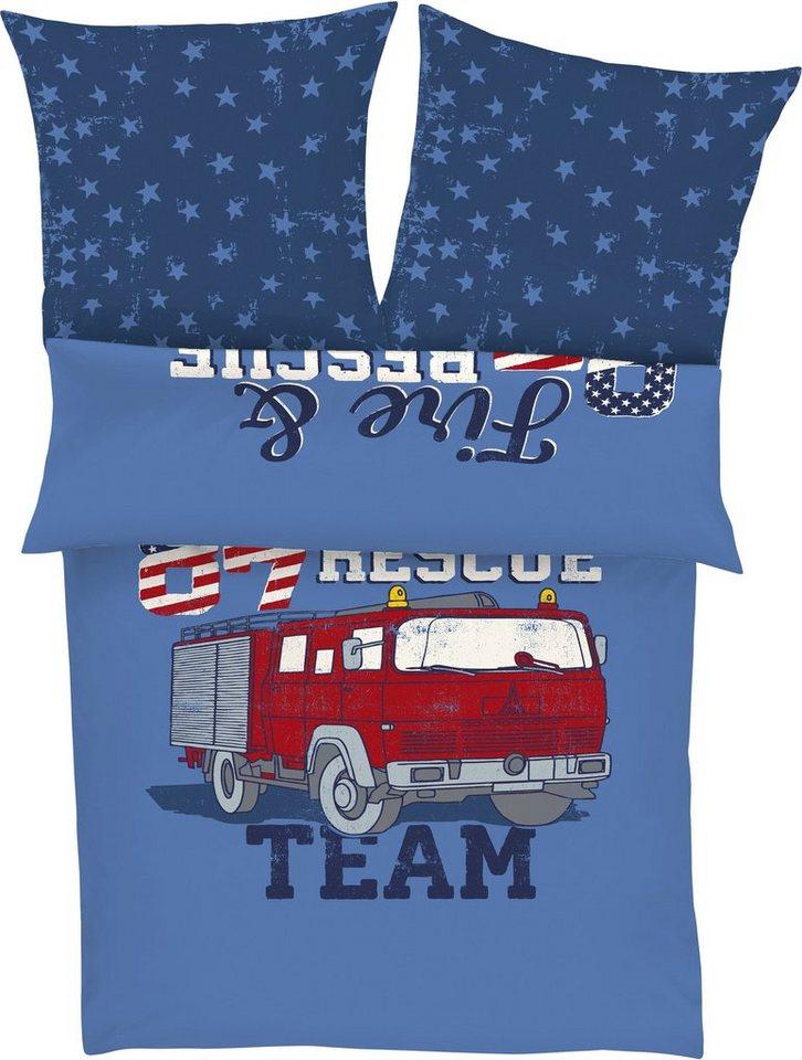 Kinderbettwäsche, s.Oliver RED LABEL Junior, »Fire Rescue«, mit Automotiv in blau