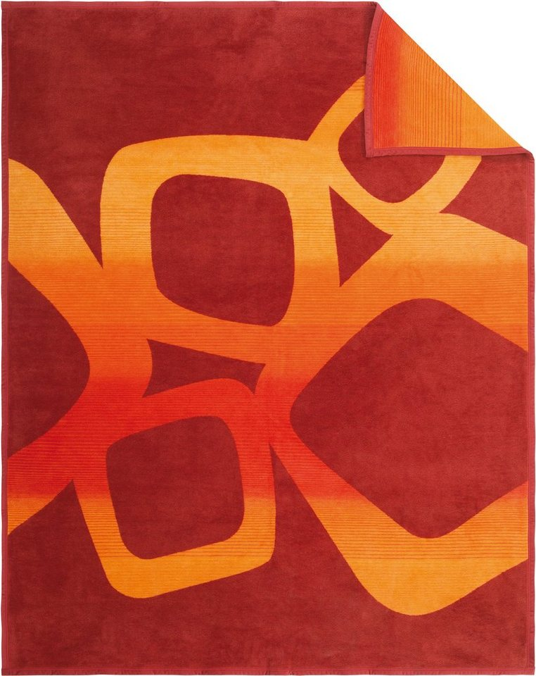 Wohndecke, Ibena, »Blocks«, mit Block-Muster in rot-orange