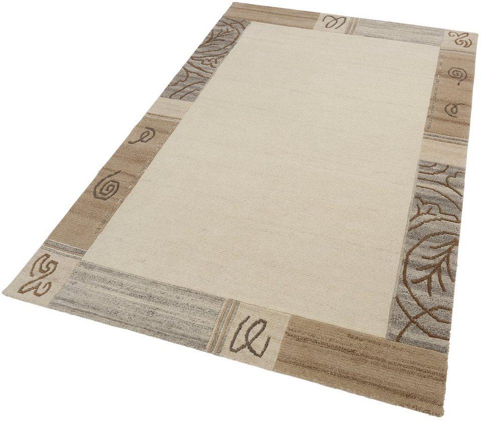 Teppich, Theko, »Nakarta«, handgeknüpft, reine Schurwolle in grau