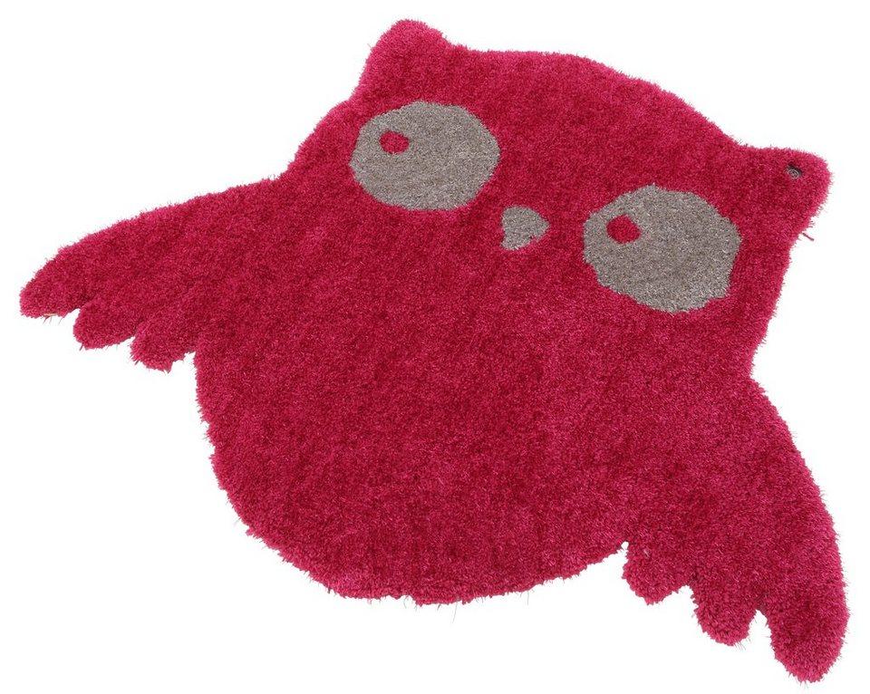 Kinder-Teppich, Tom Tailor, »Soft Eule«, Hochflor, Höhe 30 mm, handgearbeitet in pink