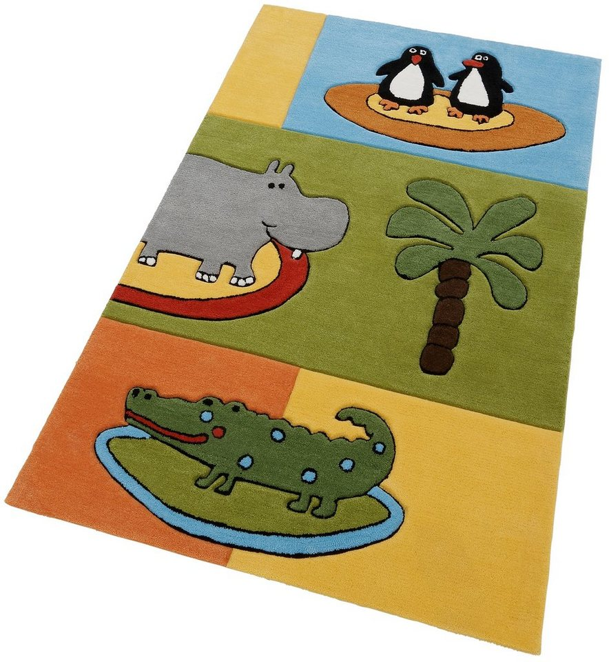 Kinder-Teppich, »Pinguine in Afrika«, Theko, handgearbeitet in multicolor