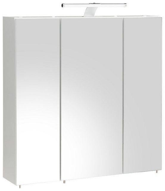 Spiegel - Schildmeyer Spiegelschrank »Roma« Breite 70 cm, 3 türig, LED Beleuchtung, Schalter Steckdosenbox, Glaseinlegeböden, Made in Germany  - Onlineshop OTTO
