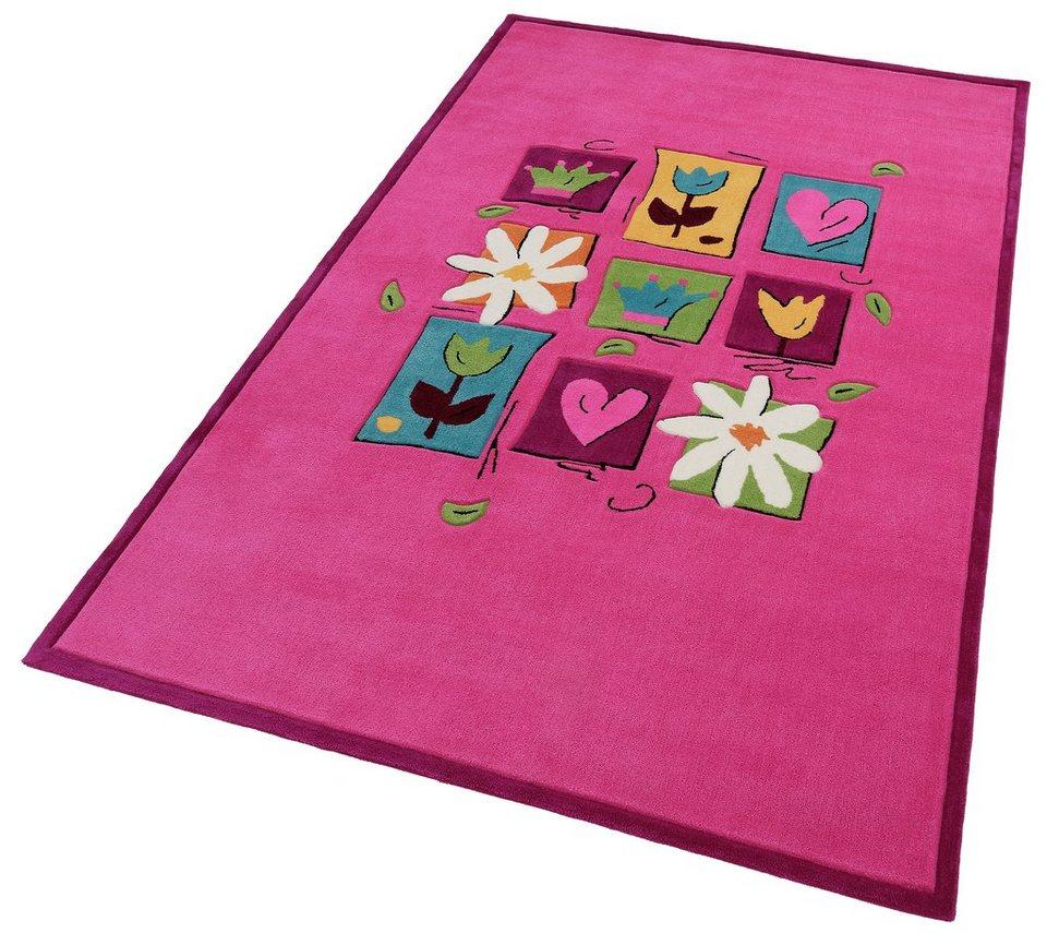 Kinder-Teppich, Theko, »Wunderland«, handgetuftet, handgearbeiteter Konturenschnitt in pink