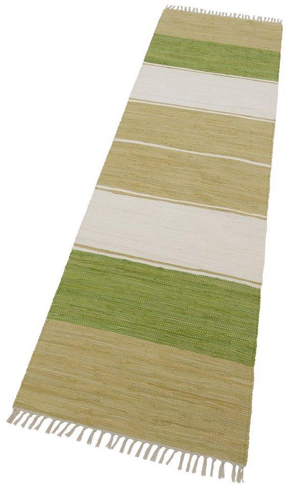 Läufer »Stripe Cotton«, Theko, rechteckig, Höhe 5 mm, beidseitig verwendbar in grün