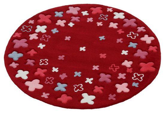 Kinderteppich »Bloom Field«, Esprit, rund, Höhe 10 mm, Blumen, Kurzflor