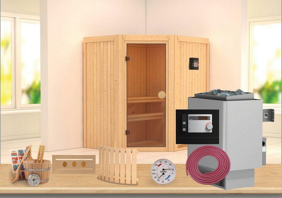 Sauna »Carolin«, 175/152/198 cm, 7,5-KW-Ofen mit ext. Steuerung in natur