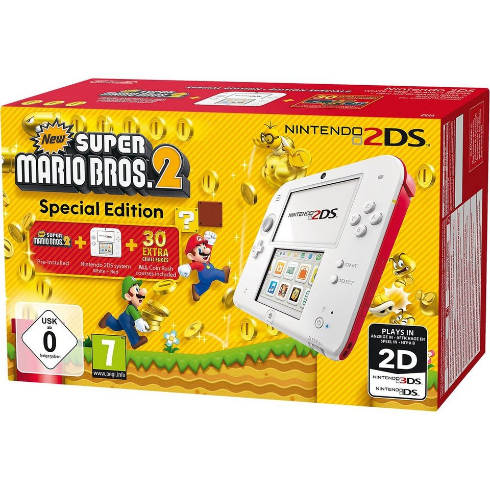 Nintendo 2DS Konsole + New Super Mario Bros. 2, weiss/rot